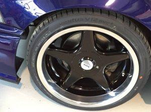 Brock B1 Felge in 8.5x17 ET 13 mit Hankook Ventus Reifen in 215/35/17 montiert vorn und mit folgenden Nacharbeiten am Radlauf: gebördelt und gezogen Hier auf einem 3er BMW E36 328i (Coupe) Details zum Fahrzeug / Besitzer