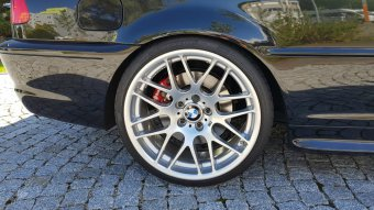 BBS Styling 163 CSL Felge in 9.5x19 ET 27 mit Continental SportMaxx Reifen in 255/30/19 montiert hinten mit folgenden Nacharbeiten am Radlauf: gebördelt und gezogen Hier auf einem 3er BMW E46 330i (Cabrio) Details zum Fahrzeug / Besitzer