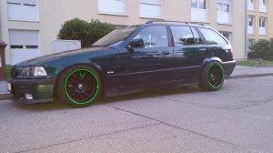 ROD 0058 Felge in 8.5x17 ET 13 mit Hankook evo V12 Reifen in 215/40/17 montiert vorn und mit folgenden Nacharbeiten am Radlauf: gebördelt und gezogen Hier auf einem 3er BMW E36 320i (Touring) Details zum Fahrzeug / Besitzer