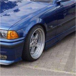 Kerscher Kerscher RX Felge in 9x17 ET 35 mit Yokohama  Reifen in 205/35/17 montiert vorn mit 10 mm Spurplatten und mit folgenden Nacharbeiten am Radlauf: Kanten gebördelt Hier auf einem 3er BMW E36 328i (Coupe) Details zum Fahrzeug / Besitzer