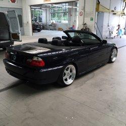 - Eigenbau - Futura Felge in 9.5x18 ET 42 mit - Eigenbau - ATR Sport Reifen in 225/35/18 montiert hinten Hier auf einem 3er BMW E46 325i (Cabrio) Details zum Fahrzeug / Besitzer