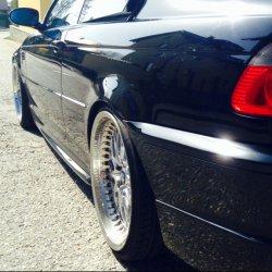 Work Rezax II Felge in 9.5x19 ET  mit Pirelli  Reifen in 265/30/19 montiert hinten und mit folgenden Nacharbeiten am Radlauf: Kanten gebördelt Hier auf einem 3er BMW E46 330d (Coupe) Details zum Fahrzeug / Besitzer
