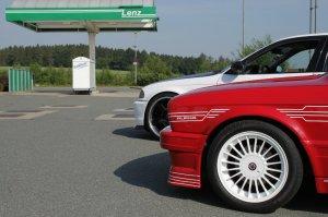 Alpina  Felge in 7x16 ET 28 mit Michelin Pilot Reifen in 205/50/16 montiert vorn mit 8 mm Spurplatten Hier auf einem 3er BMW E30 325i (Touring) Details zum Fahrzeug / Besitzer
