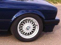 BBS Kreuzspeiche Felge in 7x15 ET 24 mit Goodyear  Reifen in 205/55/15 montiert vorn Hier auf einem 3er BMW E30 325i (Cabrio) Details zum Fahrzeug / Besitzer