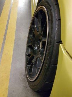 BBS CH Motorsport Felge in 10x19 ET 20 mit Toyo R888r Reifen in 265/30/19 montiert hinten und mit folgenden Nacharbeiten am Radlauf: Kanten gebördelt Hier auf einem 3er BMW E46 M3 (Coupe) Details zum Fahrzeug / Besitzer