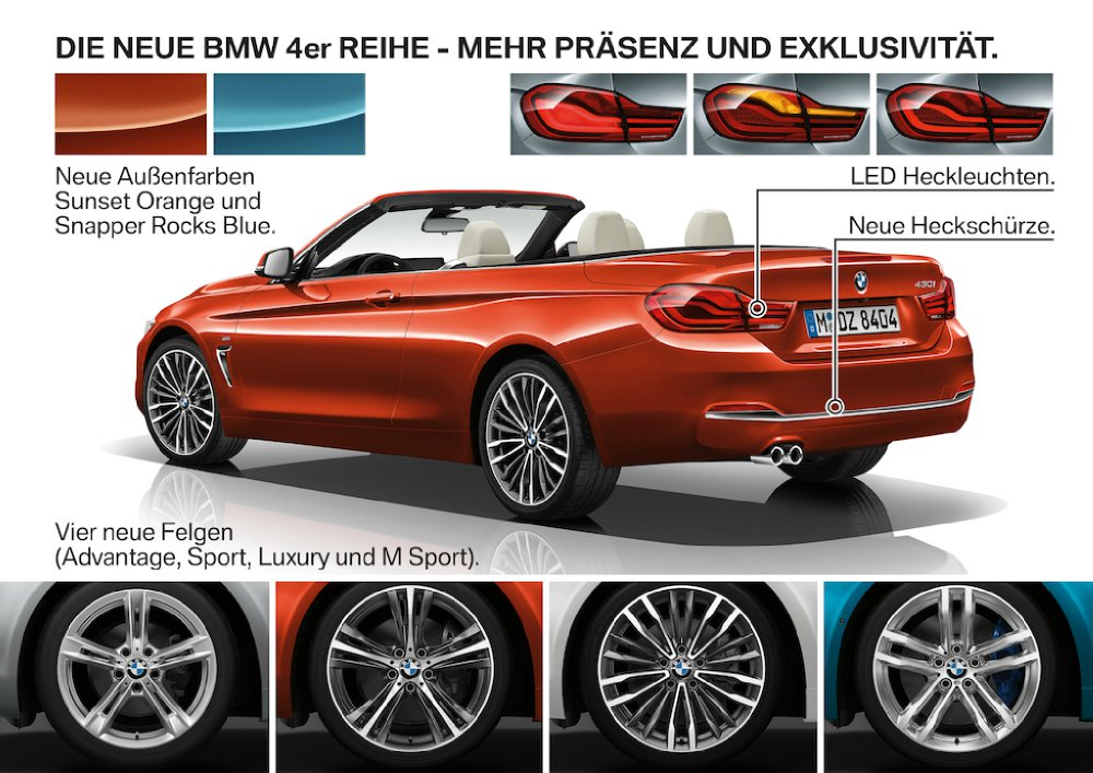 bmw 4er facelift lci 2017 neue farben und neue. Black Bedroom Furniture Sets. Home Design Ideas